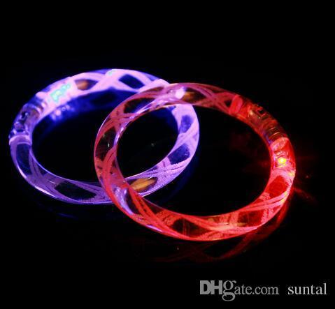LED браслет загорается мигающий светится мигает браслет Кристалл браслет партии дискотека Рождественский подарок 2016 заявление