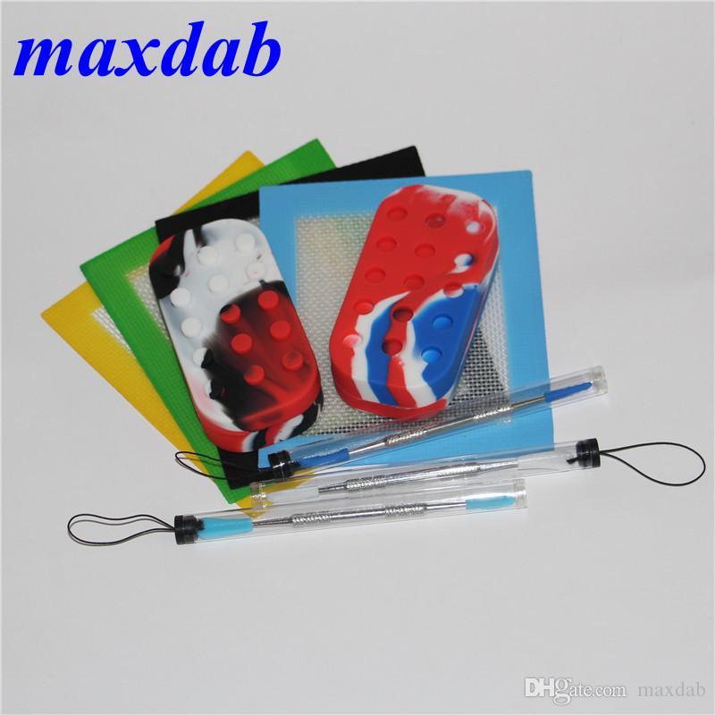 Conjunto de Kit de Silicone Com Silicone Dab Mat Pad 6 + 1 Recipientes de silicone Para Dabs Dabs frascos 120mm Ferramenta Dabber Inoxidável