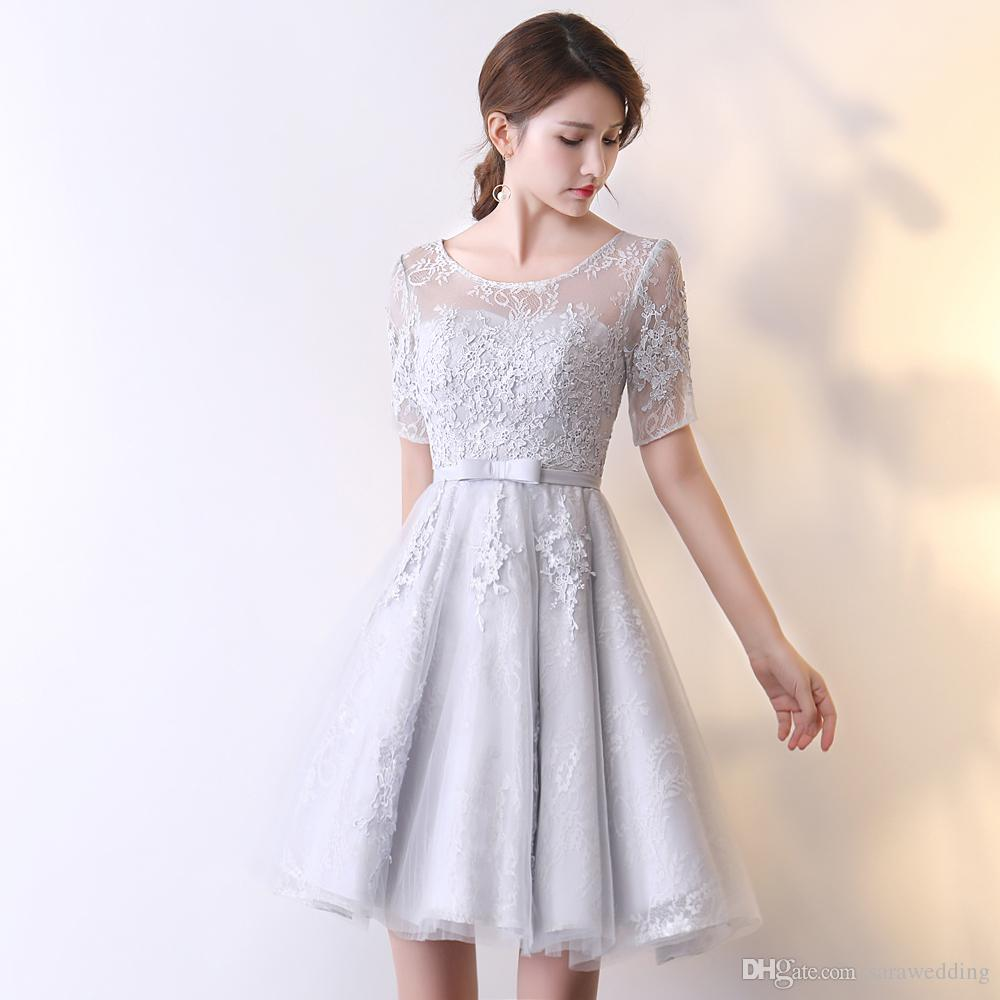 9befce0d1024 Silver Lace Tulle Short Bridesmaid Dress Lace Up 2018 Knee Length Party  Dress For Wedding New Homecoming Dress Modest Bridesmaid Dresses With  Sleeves Navy ...