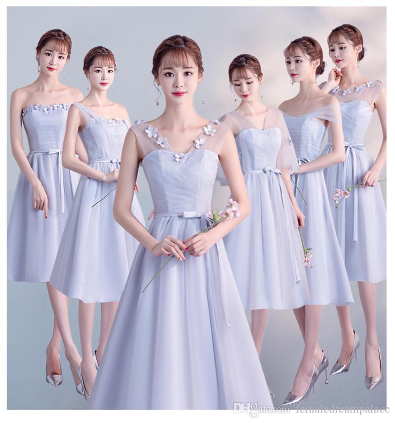 2018 Cheap Pink Organza Short Bridesmaid Dresses Custom  35 V Neck Knee  Length Backless Light Purple Homecoming Gowns Girls Bridesmaid Dress Girls  Wedding ... 20455248dc00