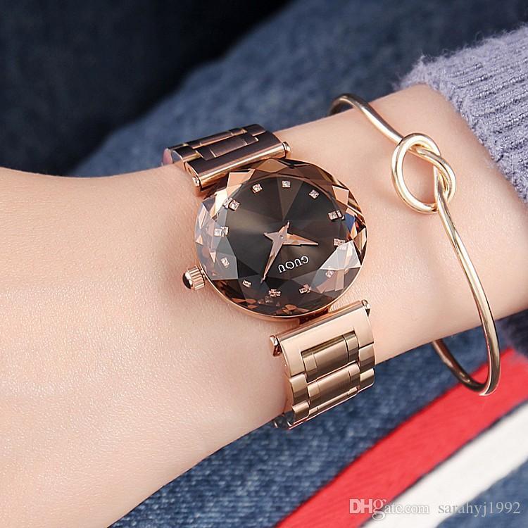 7b50992de96a Compre Reloj De Mujer GUOU Nuevo Reloj Personalidad Moda Correa De Acero  Inoxidable Diamante Cristal Reloj De Dama Con Pulsera A  28.8 Del  Sarahyj1992 ...