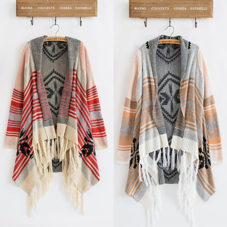 2018 2017 Spring Winter Vintage 70s Cardigan Knit Stripe Gypsy