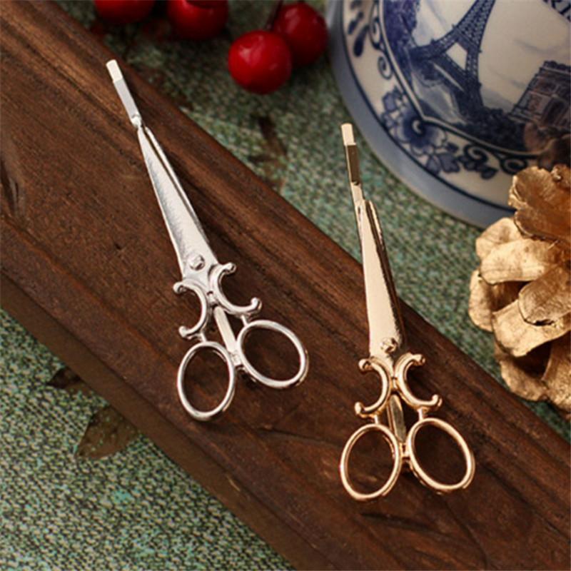 LNRRABC Women Barrettes Girl Lady Chic Scissors Shape Hair Clip Golden Silvery Color Hair Pin Hair Accessories Fashion Jewelry