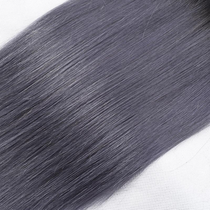 8A Sınıf Ombre 1B / Gri Düz Saç Iki Ton Ombre Brezilyalı Bakire Saç Örgü Gümüş Gri Ombre Brezilyalı İnsan Saç Uzantıları 3 Adet / grup