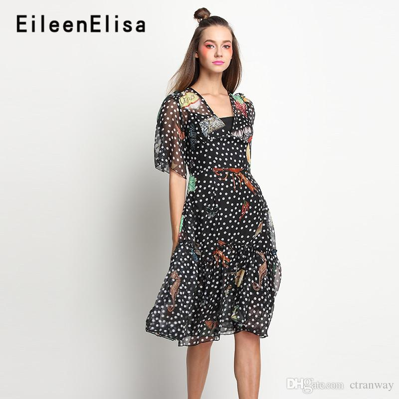 8edd78806cf5d Satın Al Beyaz Nokta Elbise Siyah Diz Boyu Vintage Çiçekli Baskı A Line  Elbise 2018 Sonbahar Yeni Ipek Fırfır Elbise Kadın, $140.71   DHgate.Com'da