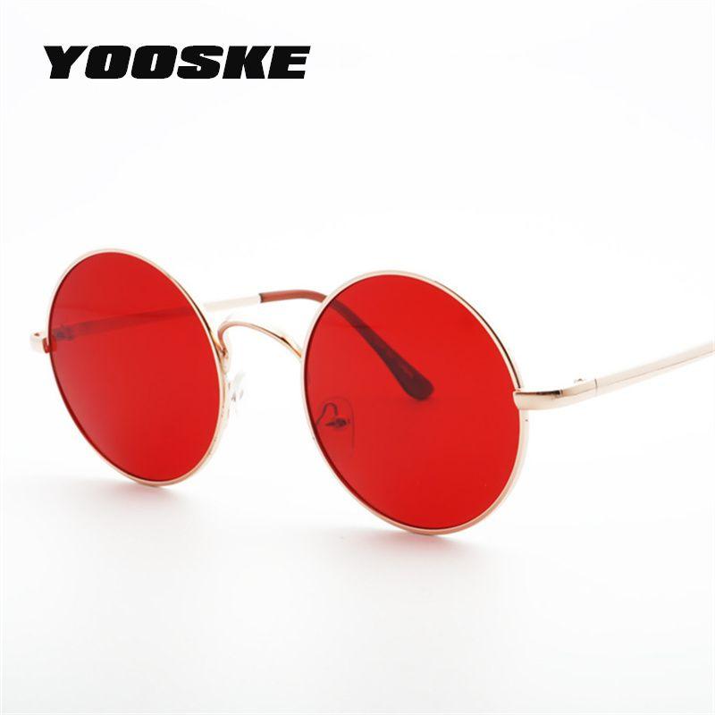 f0e78f9d27 Compre YOOSKE 2018 Metal Gafas De Sol Redondas Hombres Mujeres Personalidad  Negro Grande Rojo Gafas De Sol Gafas De Sol Gafas De Sol Para Mujer Para  Hombre ...