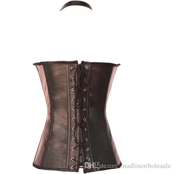 Prêt à expédier Mesdames Corset Steampunk Gothic en cuir noir en marron et noir Corset Halter en caoutchouc de couleur Overbust 0901