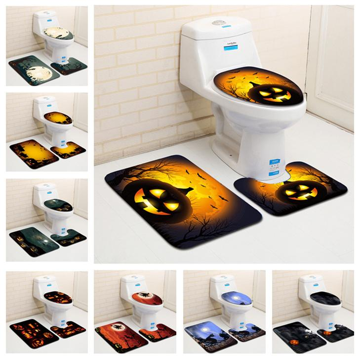 Halloween Pumpkin Printed Bathroom Mat Set Polyester Floor Rugs Cushion Toilet Seat Cover Bath Mat for Home Decoration LE71