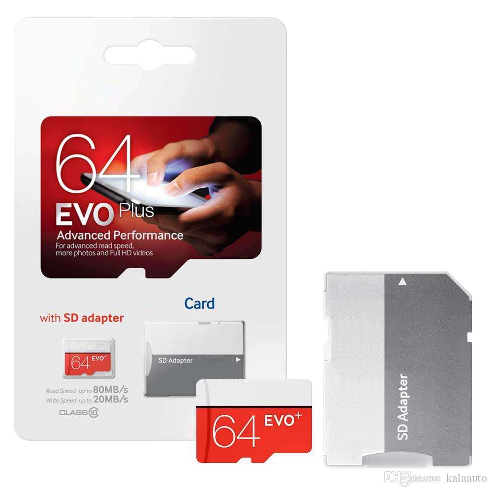 화이트 EVO Plus + 32GB 64GB 128GB 256GB C10 TF 플래시 메모리 카드 클래스 10 무료 SD 어댑터 소매 블리스 터 패키지 Epacket DHL 무료 배송