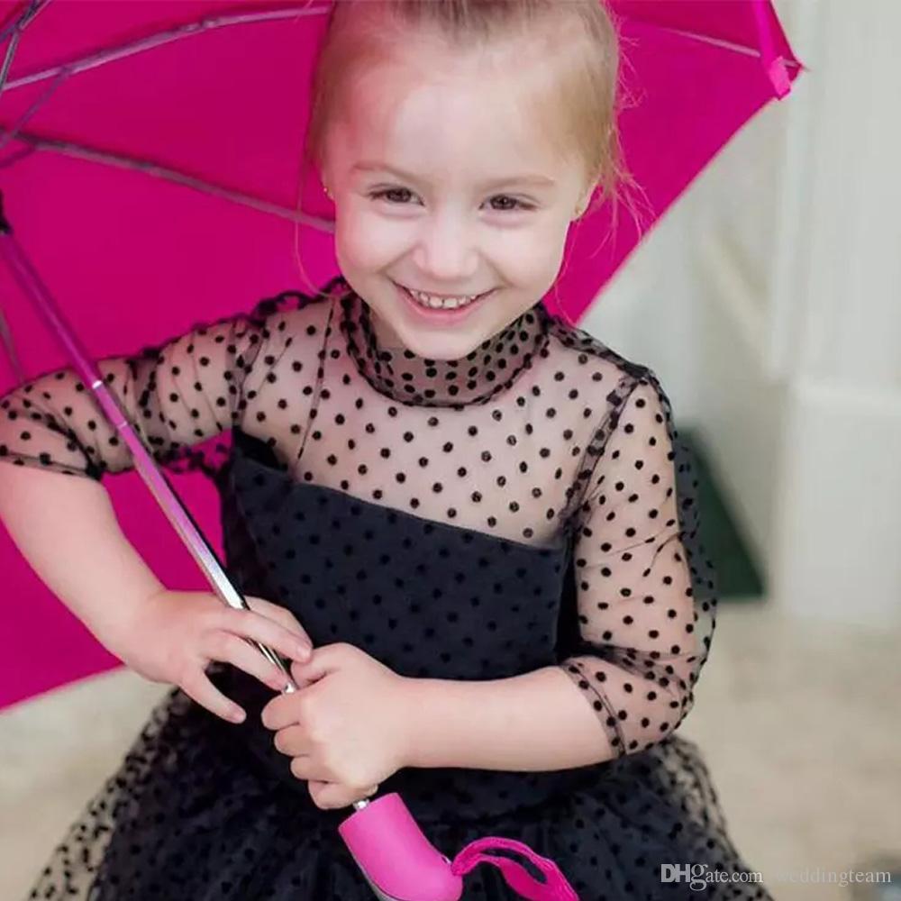 Preto Alta Baixa Mãe Filha Vestidos Da Menina de Flor Para O Casamento Dots Tulle Little Girls Pageant Vestido Em Camadas de Cetim Evening Partido Vestidos