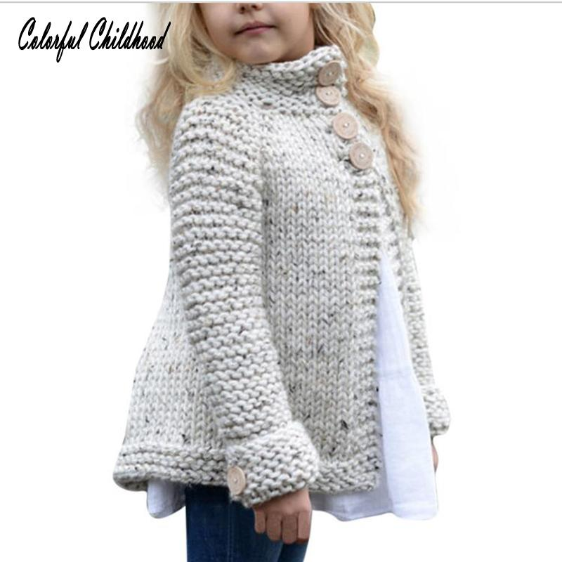 Girls Sweater Kids Cardigan Coat Childrens Knitted Button Sweaters