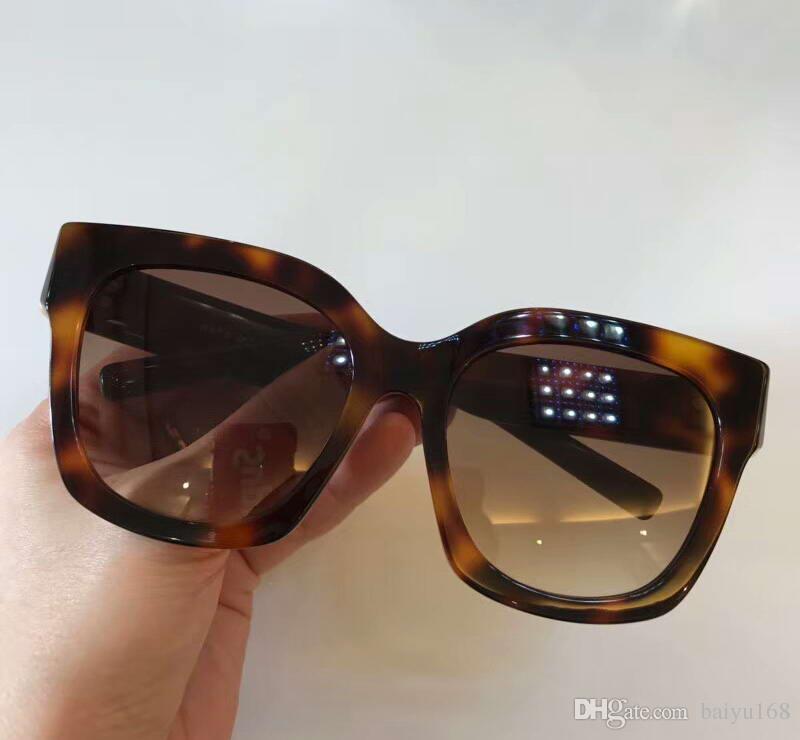 cea6f1774 Compre 182 S Designer Quadrados Óculos De Sol Escuro Havana Gradiente Marrom  Lente Sonnenbrille Mulheres Designer De Luxo Óculos De Sol Óculos Novo Com  ...