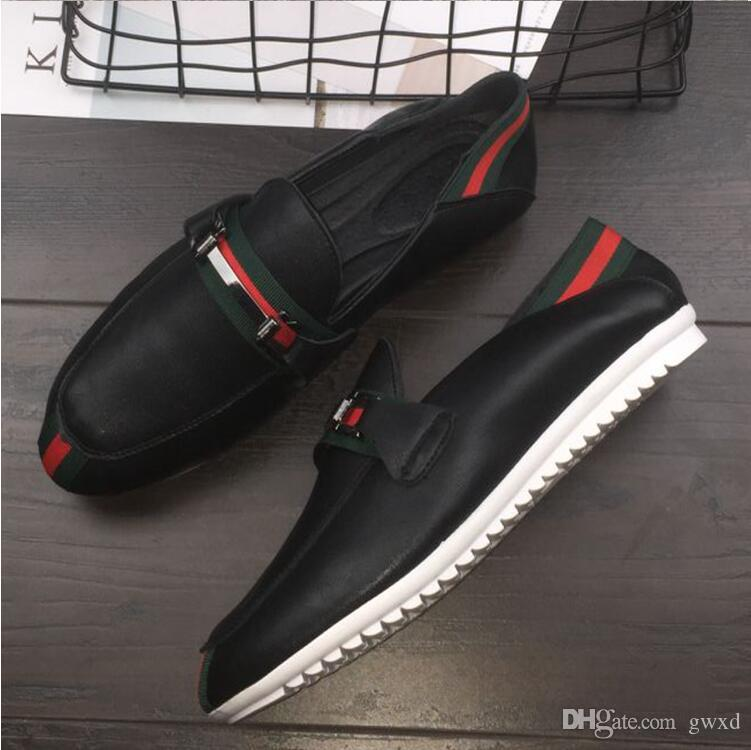 2018 NEW style luxury bran Leather men leisure dress shoe part gift doug shoes Metal Buckle Slip-on Famous brand man lazy falts Loafers G022