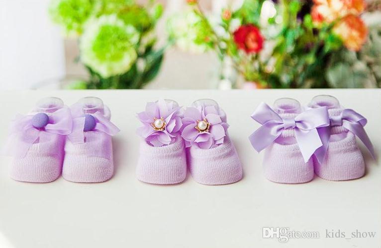 cute Kids Baby Socks 3D Infant Korean Bow Lace Flower prewalker Non Slip for Girls Toddler Newborn Children Slippers