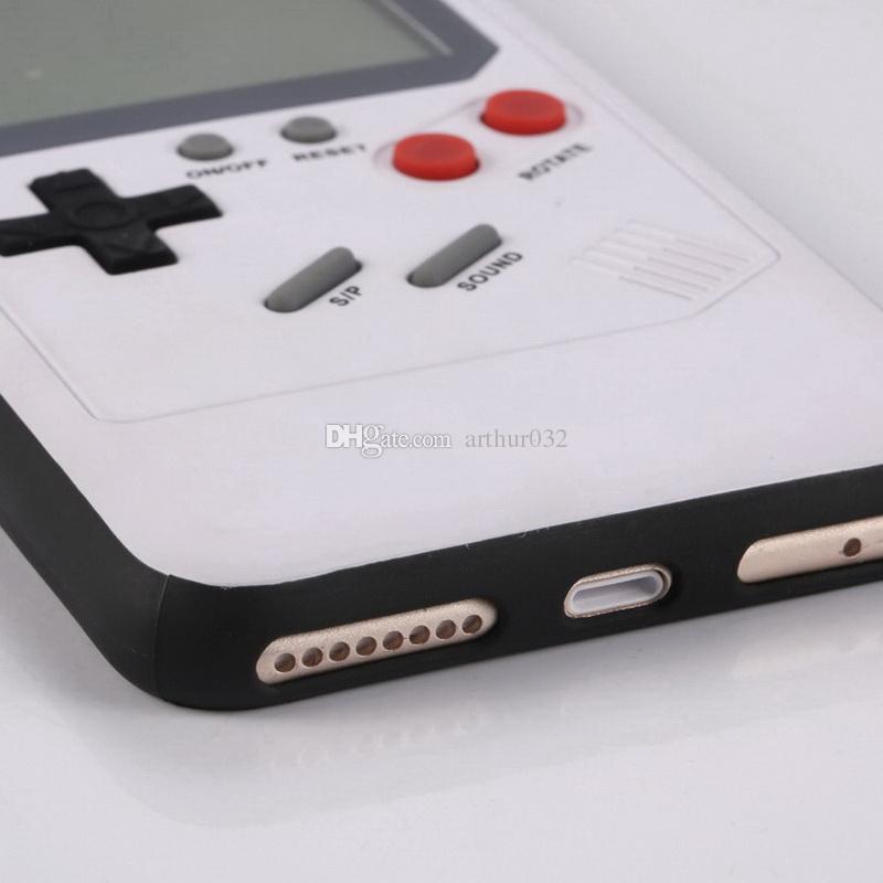 Juego de Silicona 3D Ruso Juego Retro Consolas Teléfono Volver Caso de Juego Tetris TPU para iPhone 6 7 8 Cubierta Protectora Shell Negro / Blanco Mejor Regalo