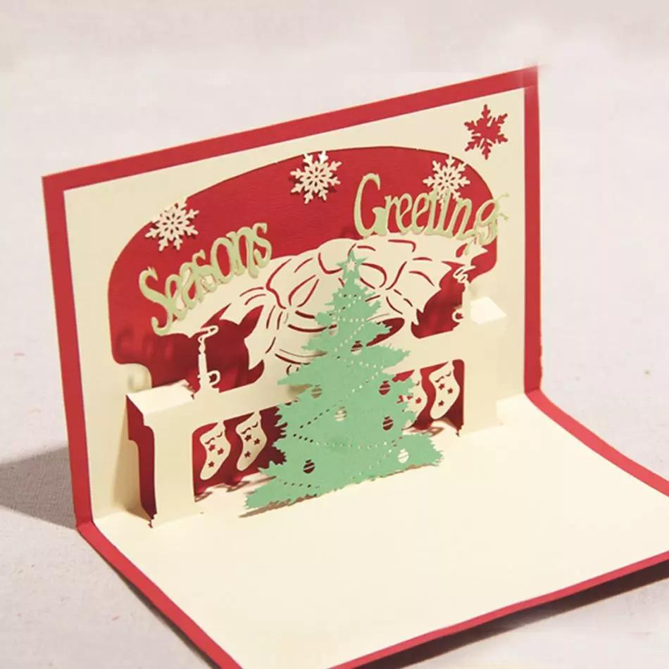 3d Handmade Christmas Tree Design Merry Christmas Cards Creative