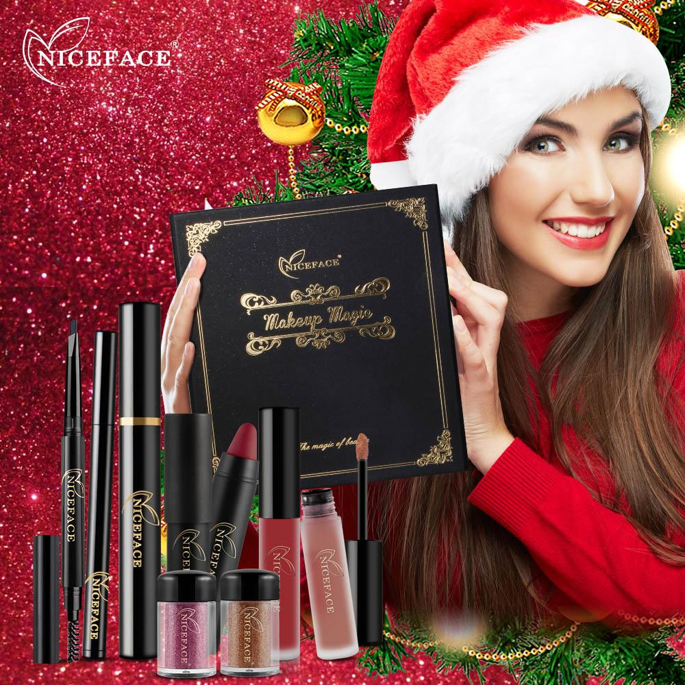 (Christmas Gift) Makeup Kit with Matte Lipstick Lip Gloss Blush Eyeshadow Brushes Gift Box Kit Nail Maquiagem Gift