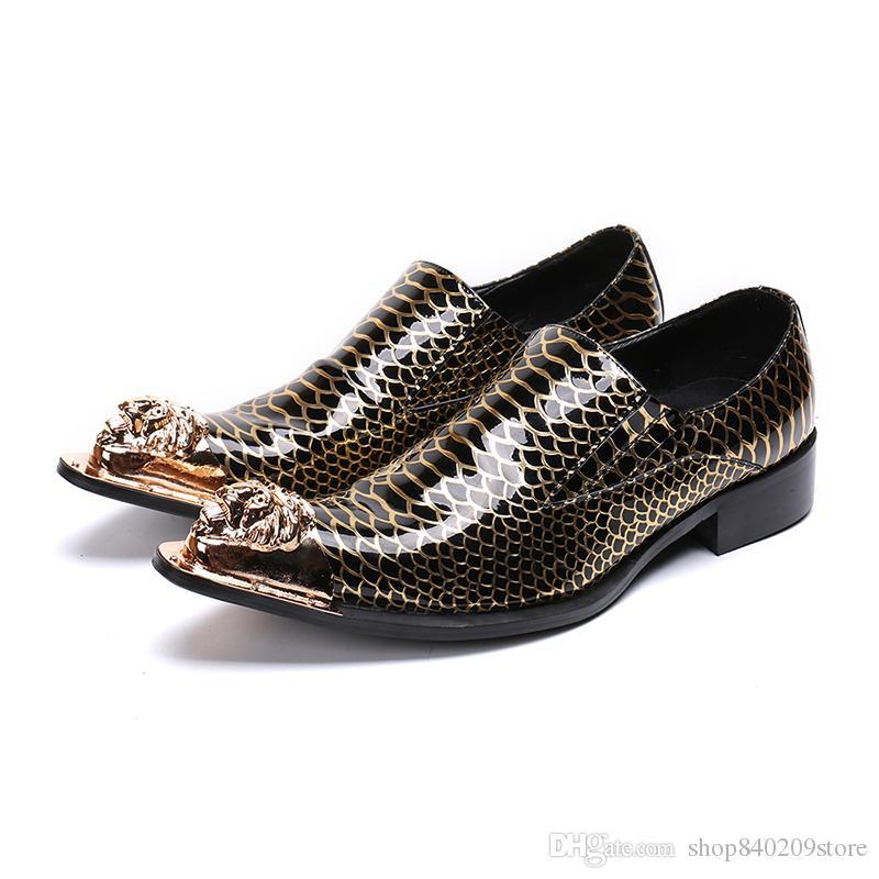 ceb9e933a75 Compre Marca Para Hombre Borla Zapatos Italianos Serpiente Formal Piel De  Pescado Vestido De Oficina Calzado Elegante Oxford Zapatos Para Hombres Con  ...