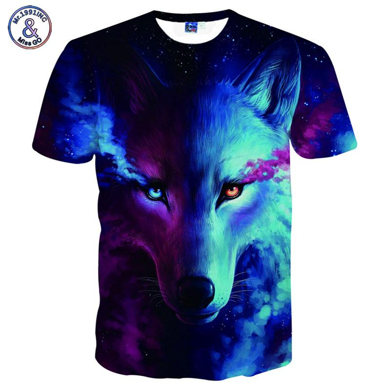 Wholesale-Mr.1991INC Space Galaxy T-shirts Men/women 3d T shirt Print Galaxy Wolf Cool Summer Tops Tees Shirts Brand T-shirts