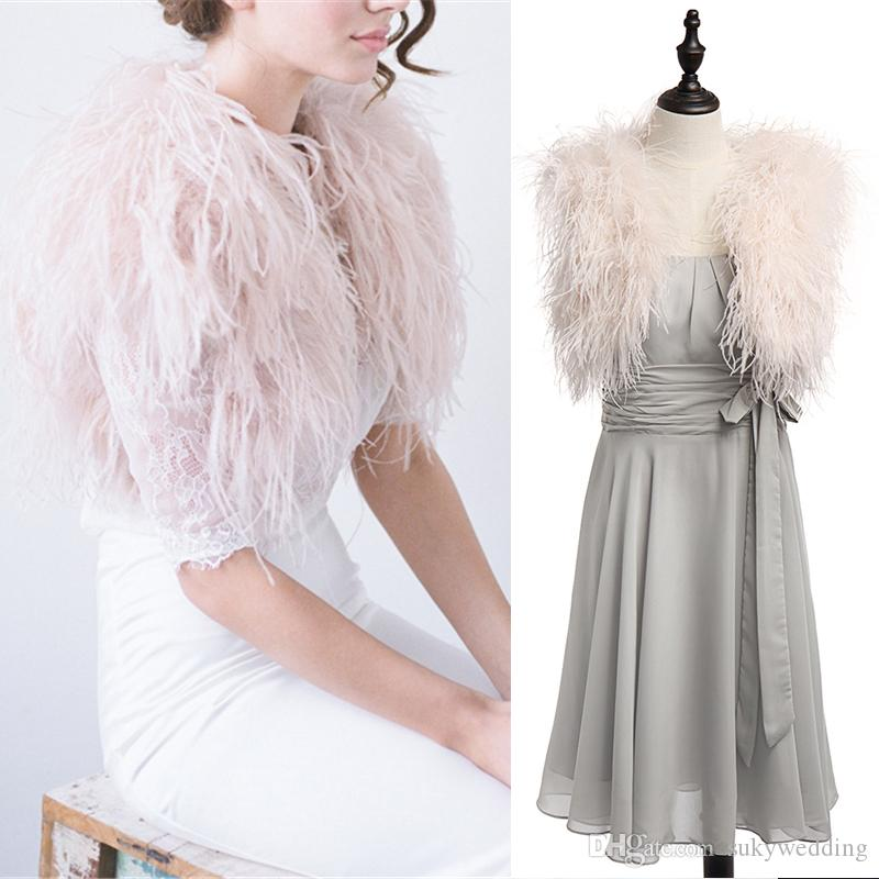 b176821cbd2d 2019 100% Ostrich Feather BRIDAL BOLERO Fur Jacket For Lady Women Evening  Gown Wedding Dress Bridesmaid Fur Wrap Shawls Custom Made From Sukywedding,  ...