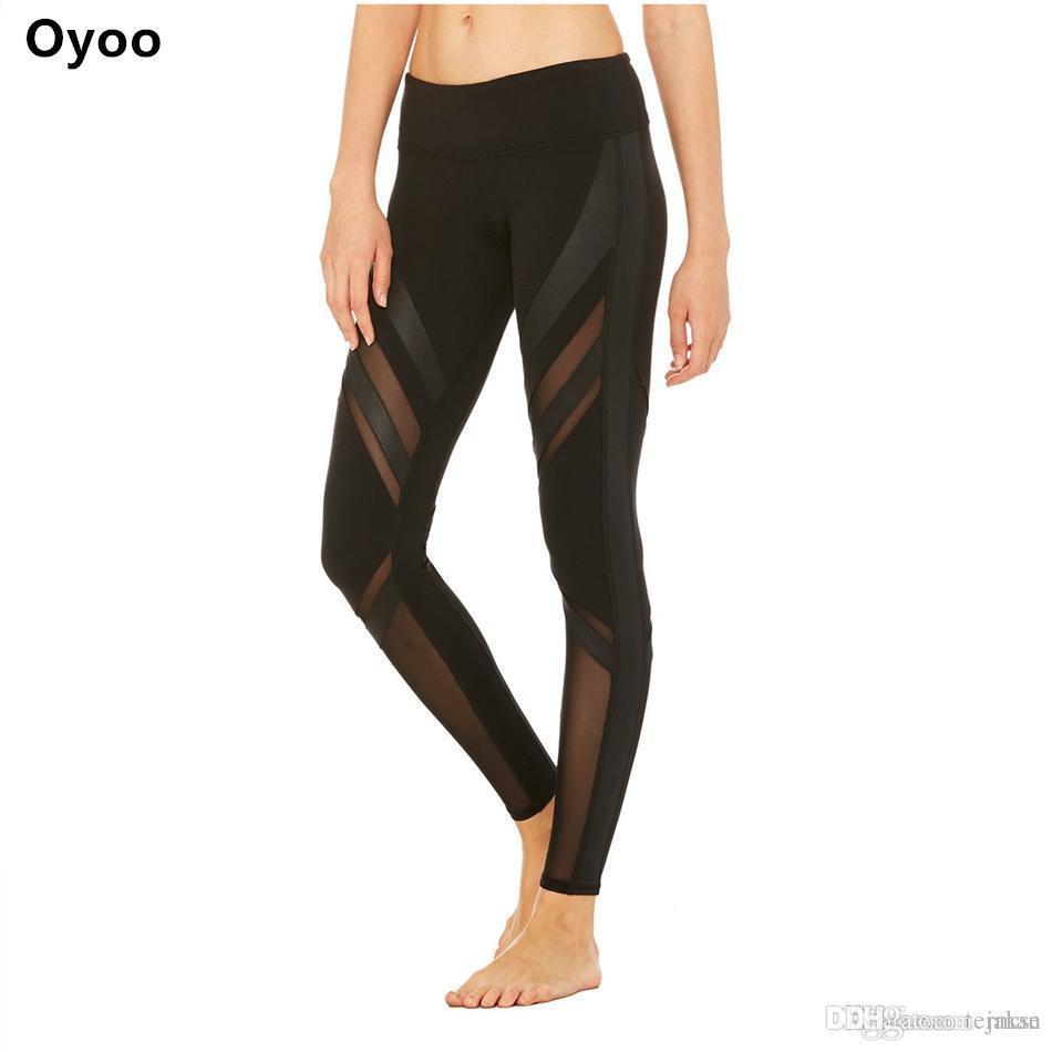 acbc8bdb59 Oyoo Mesh Panels Yoga Pants Thick Fabric Sport Leggings Women ...