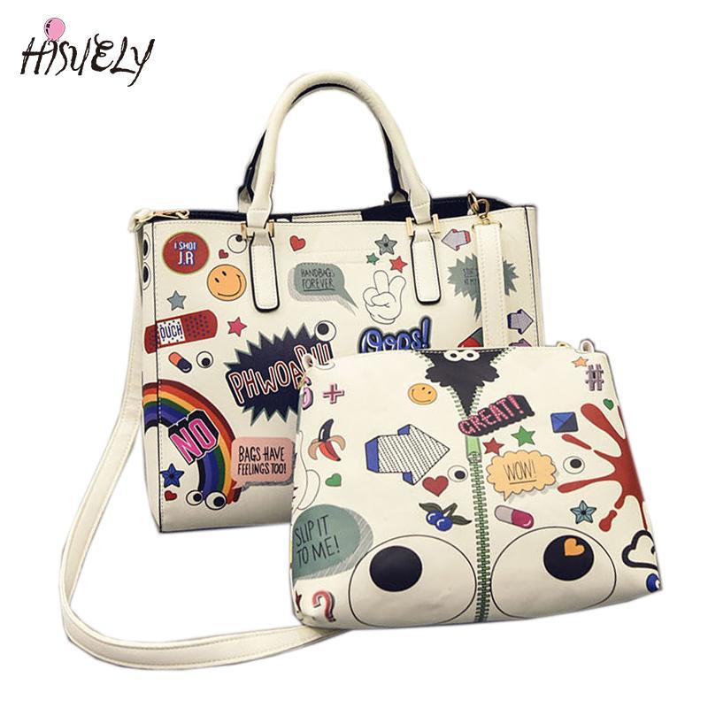HISUELY Fashion Korean Harajuku Style Handbag Printed Graffiti Bags  Portable Shoulder Bag Messenger Bag Female Eyes Set Hot Sale Best Handbags  Cute Handbags ... 9704c139ddde1