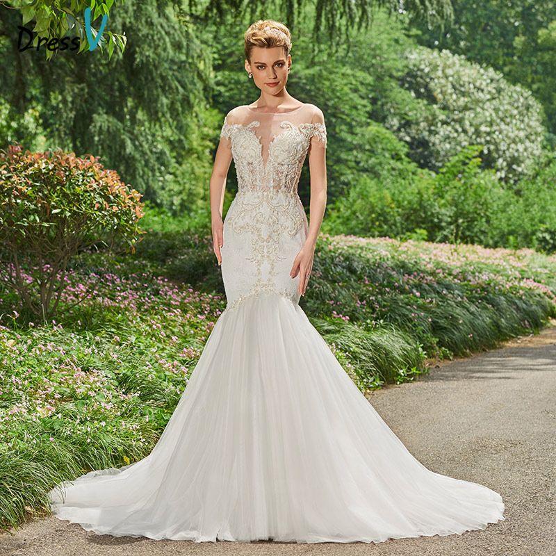 Wholesale Long Stain Mermaid Wedding Dress Beading Chapel Train