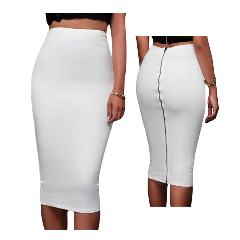 1c1f2e11be 2019 Skirts Women 2017 Slim Fitted Pencil Skirt Mid Calf High Waist Straight  Women Back Zipper Skirt Female Solid Empire Pencil Saias From Cutee, ...