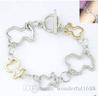 New Fashion Drip enamel Stainless Steel Color drop glue hollow out bear braided bracelet Jewelry man's women's gift chain