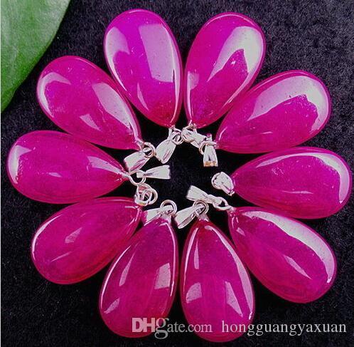 Beautiful White Stone Add Rose Shallow Teardrop Pendant Bead