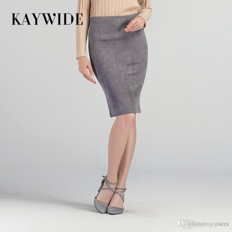 c64a7000973 Wholesale- KAYWIDE 2017 Women Suede Midi Skirt Female Spring Summer ...