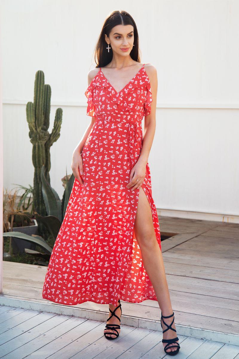 508257fdf2a Casual Ruffle Split Summer Dress Women Backless Boho Chic Long Bohemian  Holiday Dress 2018 New Strap Beach Print Maxi Dress Female Vestidos  Sundresses Shift ...