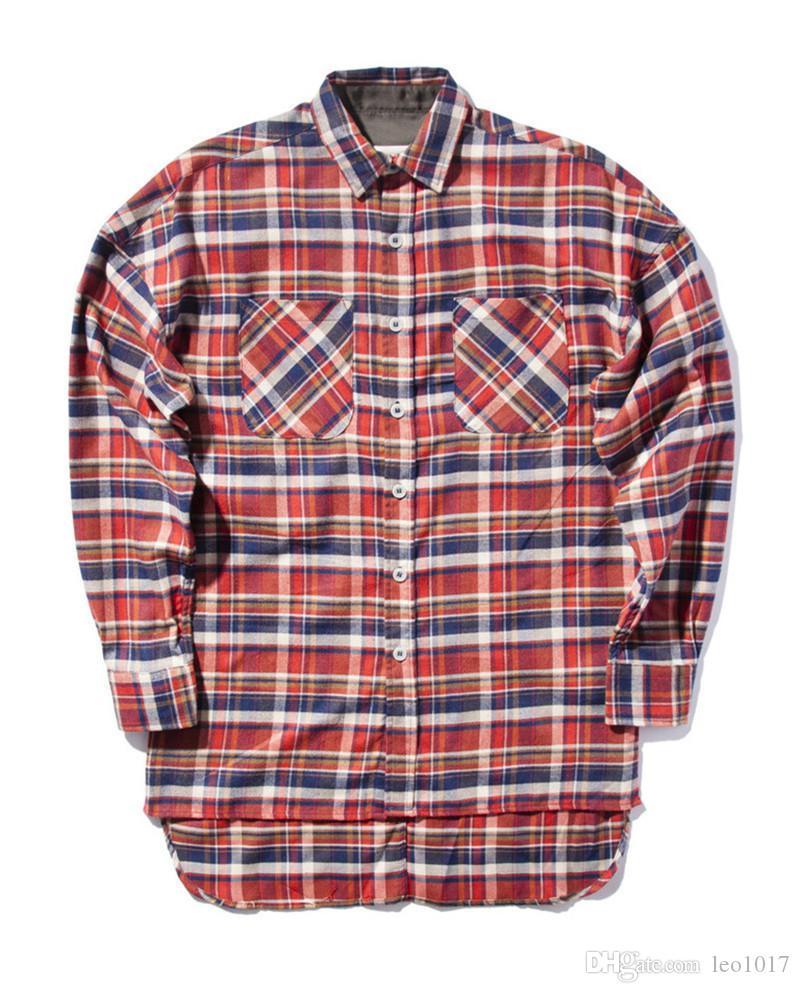 Homens Büyük Boy Camisa de flanela Xadrez de Manga Comprida 2018 Primavera Hip Hop Camisas Homem Homens Roupas BK20BI