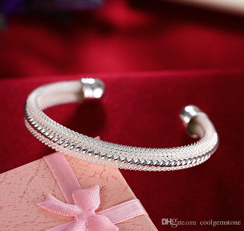 Luckyshine Holiday Gift Shiny Special Pure 925 Sterling Silver Open Adjustable Bracelets Bangles Russia Bangles