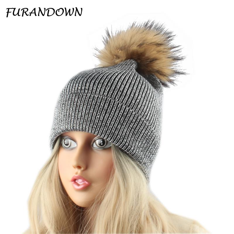e7ac4f3f17c Natural Fur Pompom Hats Winter Women Hat Silver Wire Knitted Wool Beanies  Ladies Warm Beanie Female Cap Skullies Hats For Men Snapback Caps From ...