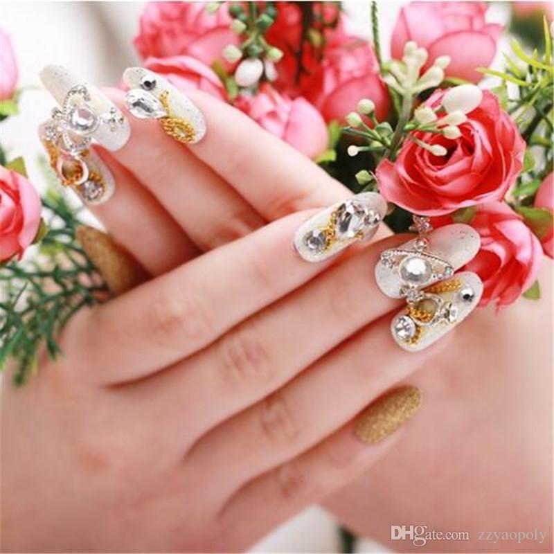 Grosshandel 45 Arten Hochzeits Nagel Brautdiamantnagel Lange Falsche