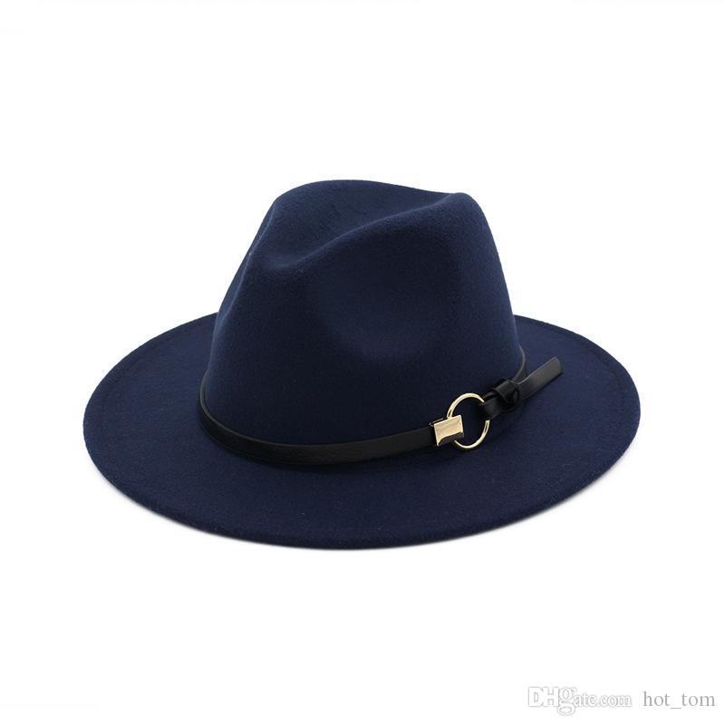 a37efde25ec38 Compre Nueva Moda Sombreros De Copa Para Hombres Mujeres Moda Elegante  Fieltro Sólido Sombrero De Fedora Banda Ancha Ala Plana Sombreros De Jazz  Con Estilo ...
