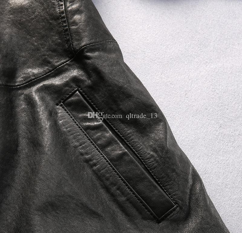 Estilo longo preto AVIREXFLY flocagem jaquetas de couro de carneiro homens jaqueta de couro 100% genuíno
