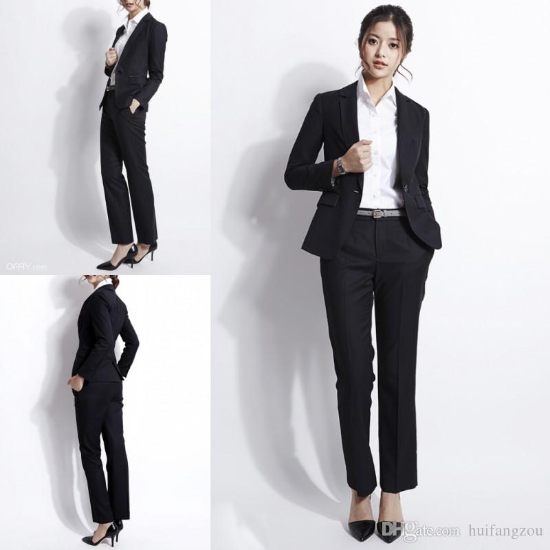 Elegant Black Formal Women Suit Two Pieces Jacket Pants Career