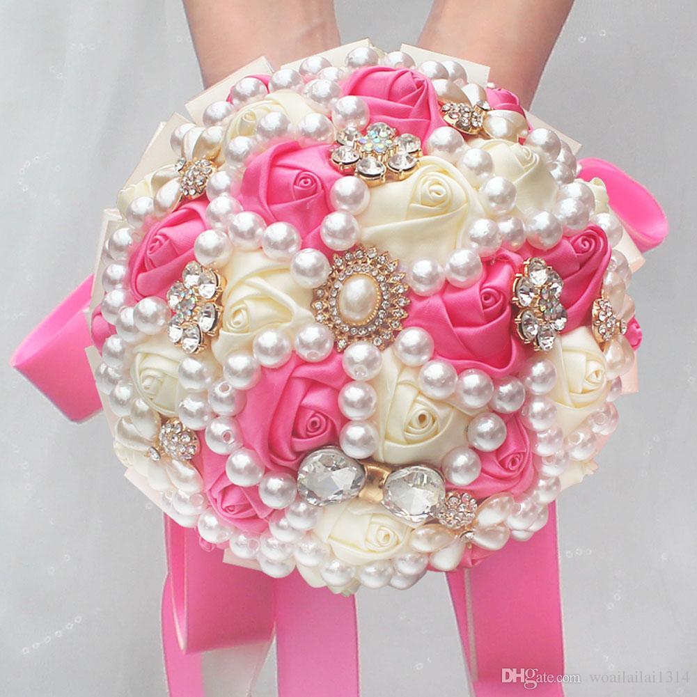 15cm Peach Ivory Simulation Rose Artificial Flowers Bride Holding ...