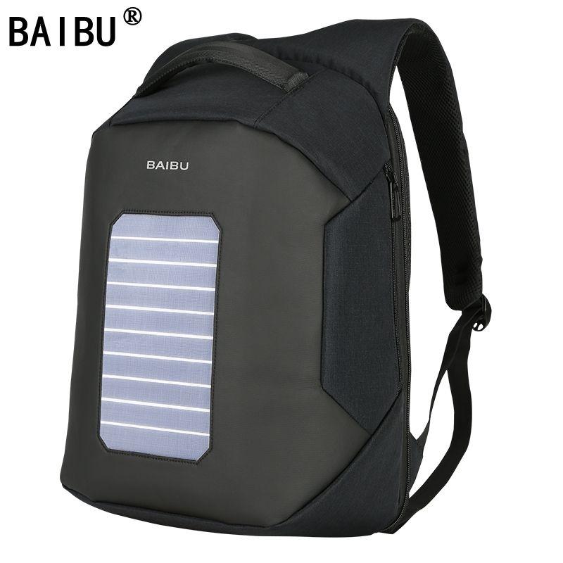 38dc90baa BAIBU Men Backpack Solar Powered Backpack Usb Charging Anti-Theft ...