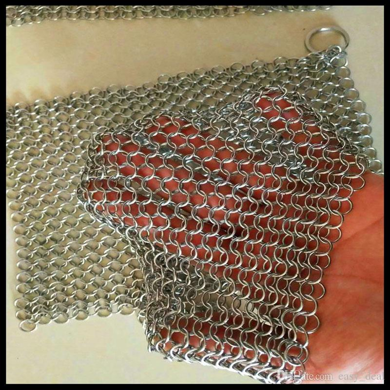 20*15cm Iron Cleaner Stainless Steel Chainmail Palm Brush Scrubber Kitchen Gadgets Wash Tool Pan Dish Bowl QW7184