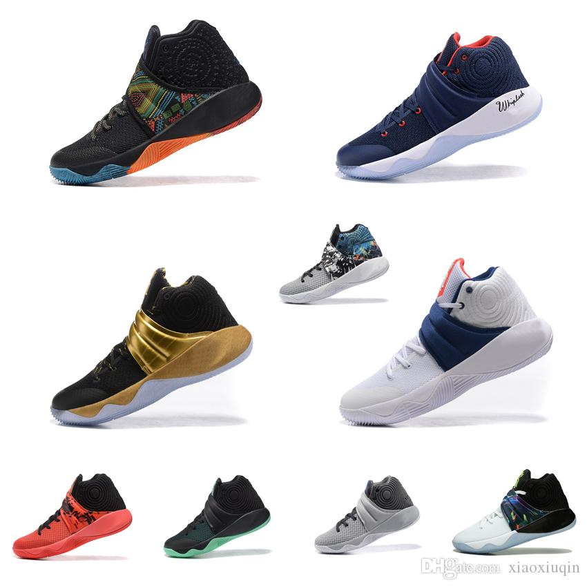 separation shoes bfae4 91a81 Men Kyrie ii basketball shoes for sale BHM USA Parade MVP Black Gold Navy  Red Independence Day kyries irving 2s two sports sneakers with box