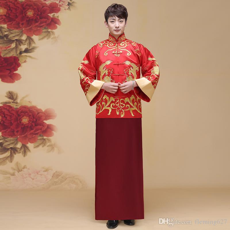Chine Traditionnel Voir la robe de mariée mariée de style chinois mariée robe de mariée Unique Vêtements Homme robe de dragon pratensis costume de costume tang