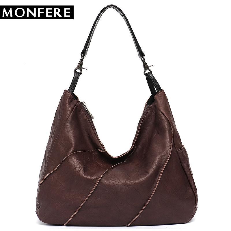 9e3743b64 MONFERE Women Handbag 100% Genuine Leather Female Patchwork Shoulder Purse  Ladies Sheep Skin Large Capacity Cross Body Tote Bag Cheap Designer Handbags  ...