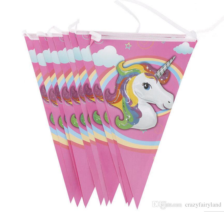 Compre Unicórnio Dos Desenhos Animados Bandeiras Bandeira Da Festa De  Aniversário Pendurado Bandeiras De Papel Bandeira Para Crianças Decoração  De ... a0e81d6f1665d
