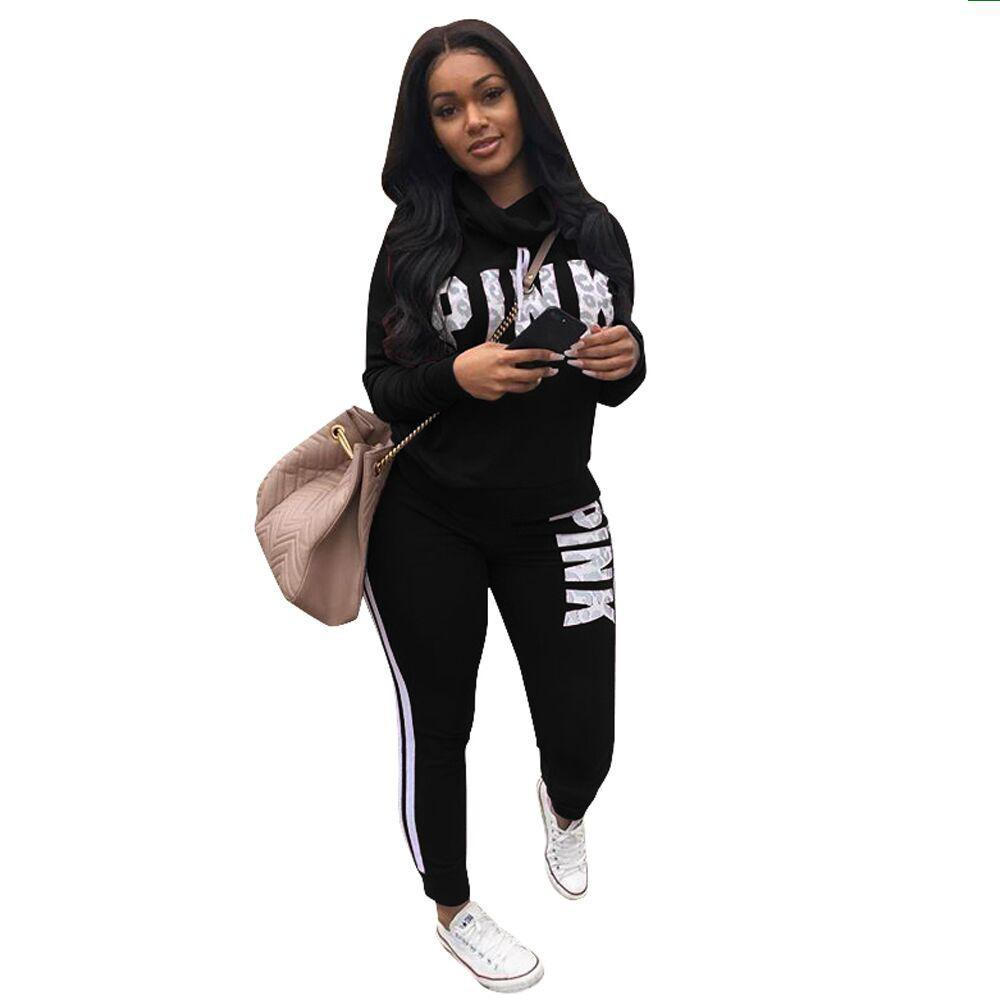 2cc0d7b2abe1b 2019 Pink Two Pieces Suits Top And Pants Women Letter Print Tracksuit 2018  Spring Plus Size Casual Nightclub Party Sweatsuits XXXL From Honjiao