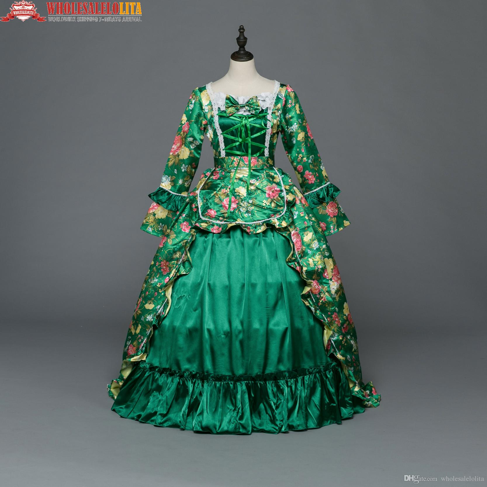 new green printing victorian southern belle dress rococo victorian