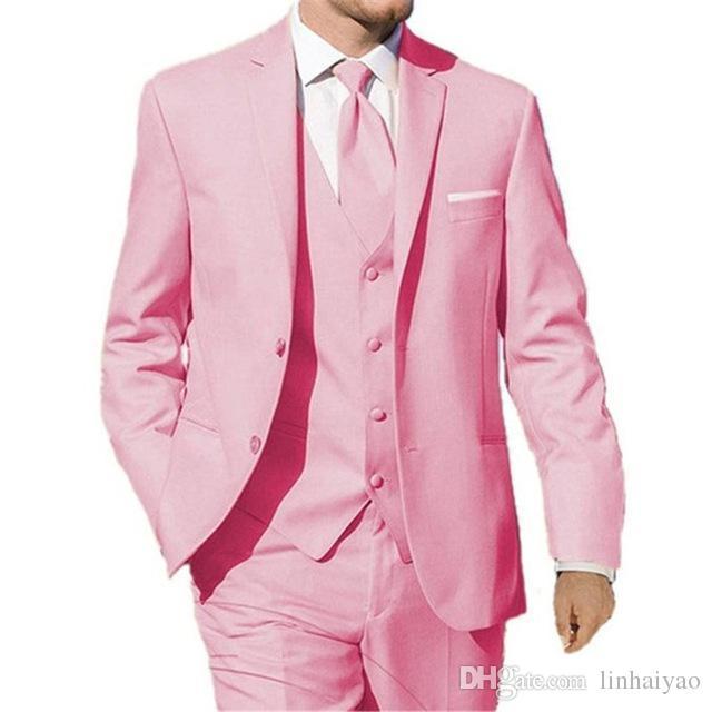 Compre Traje De Boda Rosa Para Hombres 3 Piezas Chaqueta + Pantalón +  Chaleco + Corbata Trajes Por Encargo Chaleco Formal De Terno Masculino Para  Hombre A ... 62707aa08fc