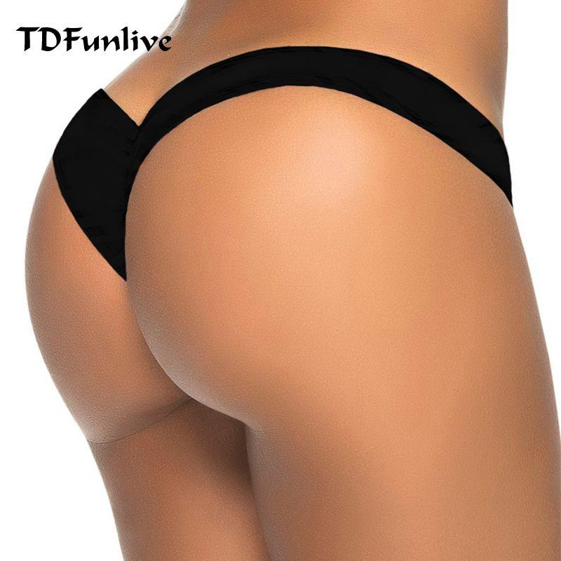 65f5b7d0ac7c Acquista 2017 Nuova Vendita Calda Nero A Forma Di V Sexy Brasiliano Bikini  Fondo Donne Costumi Da Bagno Costume Da Bagno Tronco Tanga Micro Slip  Mutandine ...